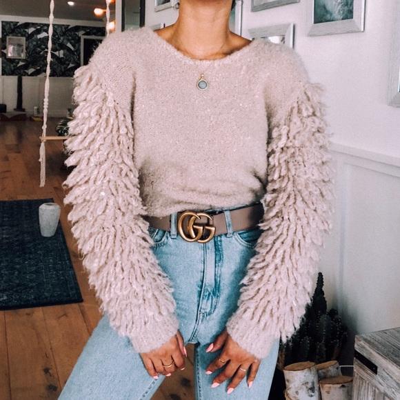 "Neiman Marcus Sweaters - Neiman Marcus Wool ""Feather"" Sleeve Sweater"